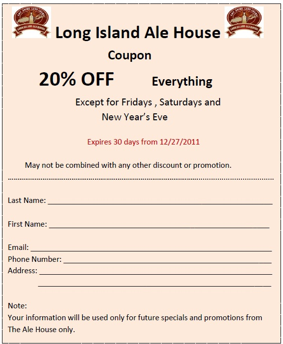Long Island Ale House 20 Percent Off Coupon